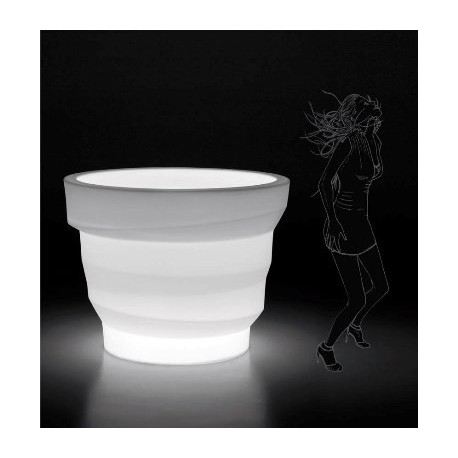 Pot design lumineux REBELOT blanc