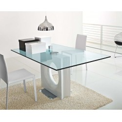 Table en verre design MAXIME blanche