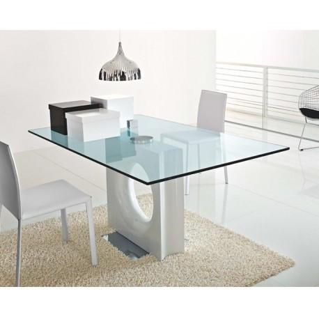 Table en verre design MAXIME blanche