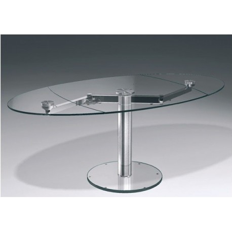 Table design en verre transparent EXTAND.