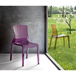 Chaise design transparente CRYSTAL violet et ambre
