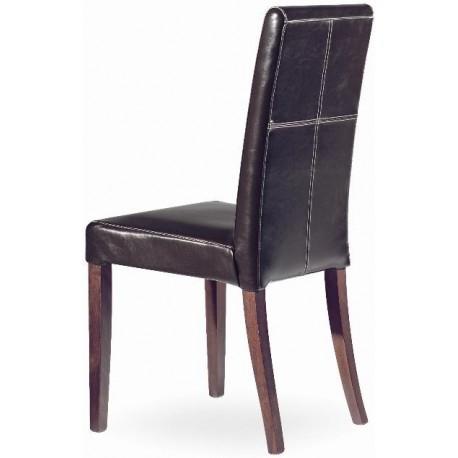 Chaise cuir modrene avec pieds bois for Chaise cuir et bois