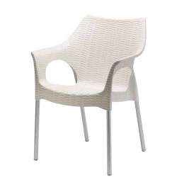 Chaise design OLIMPIA pieds aluminium anodisé