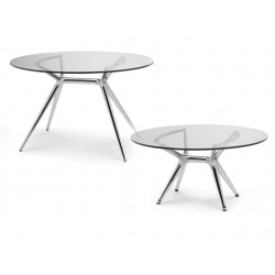 Tables design METROPOLIS en verre.