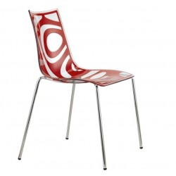 Chaise design WAVE rouge par Scab.