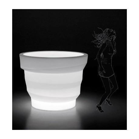 Pot design lumineux REBELOT blanc