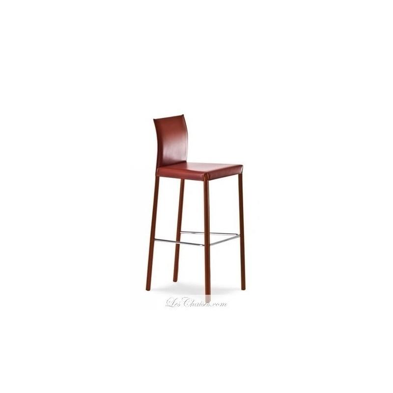 destockage tabouret bar cuir marron flona contemporain par midj loading zoom - Tabouret Bar Cuir