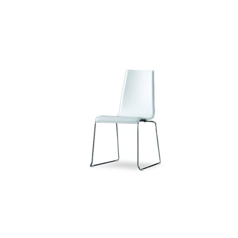 Chaise design cuir blanc drilli et chaise design cuir for Chaise en cuir design