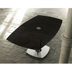 Table design en verre transparent EXTAND noir