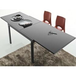 Table en verre avec allonge NETTUNO noir