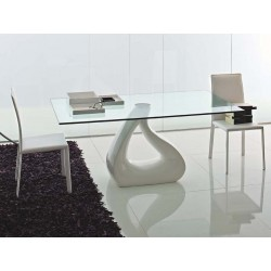 Table design verre transparent GOCCIA pied central laqué blanc