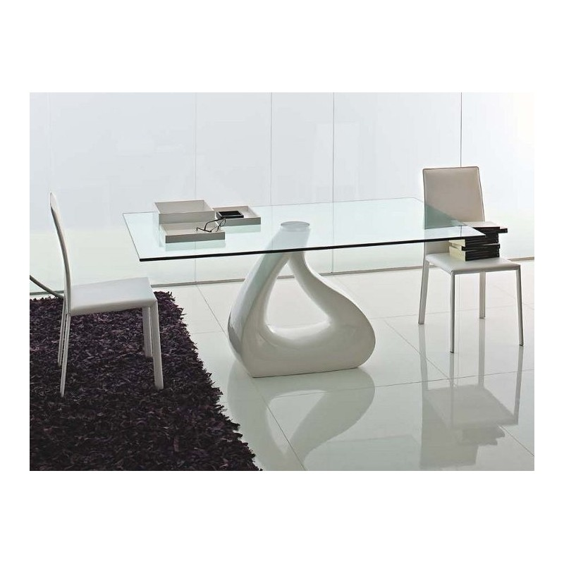 Table design verre goccia et table verre design toulon for Table verre pied central
