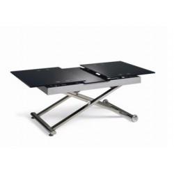 Table basse relevable MARSEILLE avec allonge en verre noir