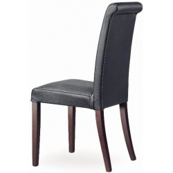 Chaise cuir et bois MARION R cuir noir