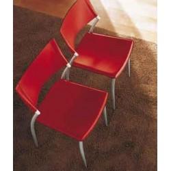 Chaise cuir design AVENUE par MIDJ rouge