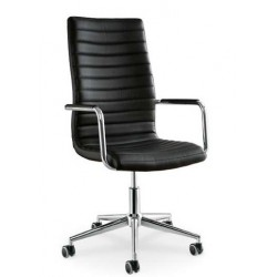 Chaise de bureau en cuir ISTAR noir