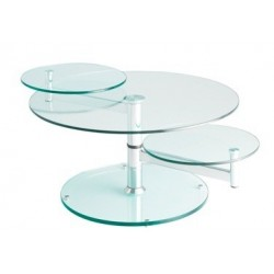 Table basse transparente en verre MANHATTAN