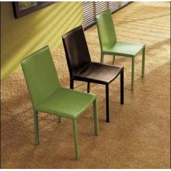 Chaise en cuir PALMA contemporaine marron et vert