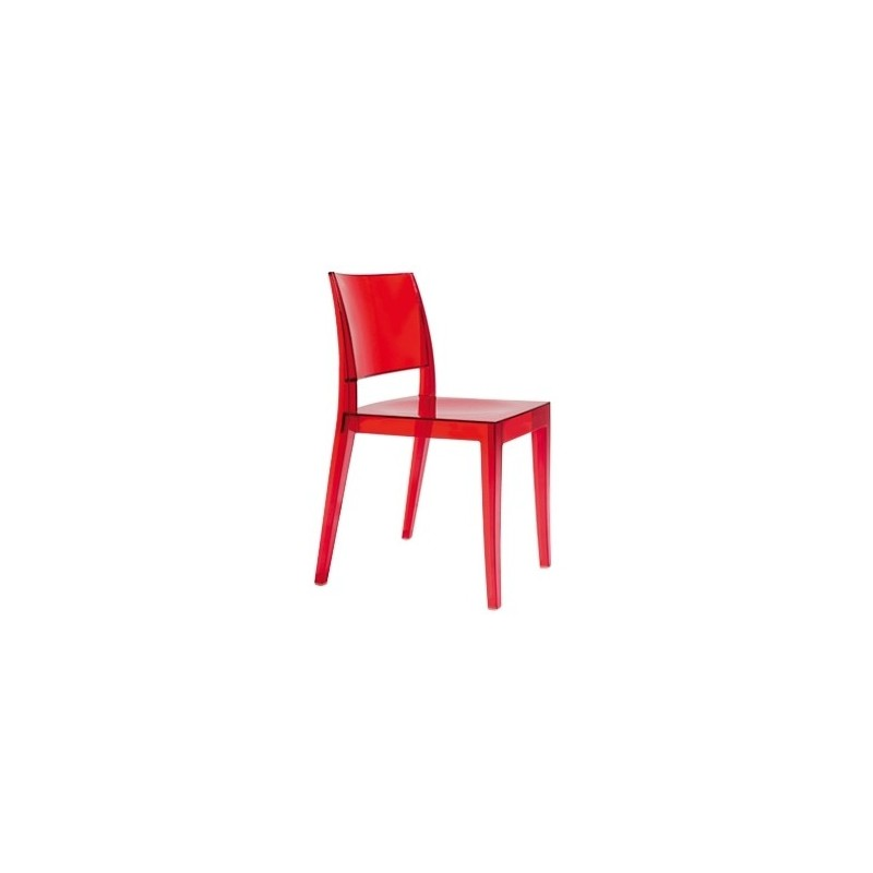 Chaise Design Polycarbonate Rouge GYZA