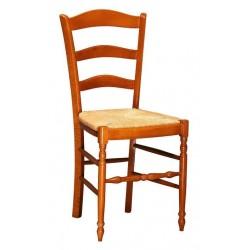 Chaise en bois et paille pour cuisine NONNA teinté chêne moyen
