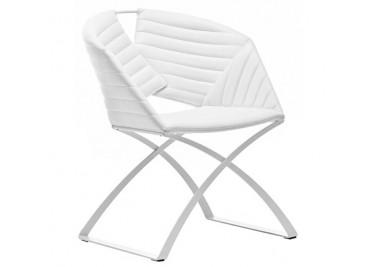 Chaise en cuir blanc par MIDJ